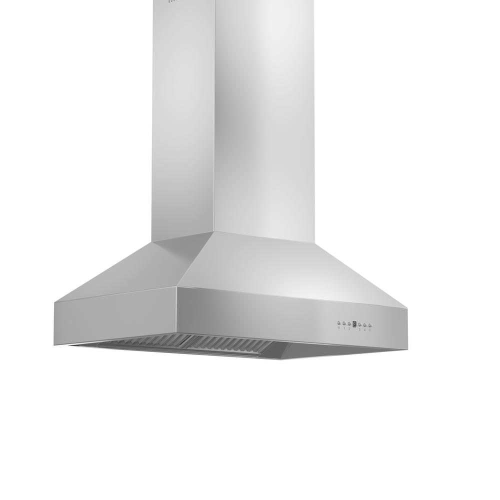 ZLINE Kitchen and Bath Zline 54 in. 1200 CFM Island Mount Range Hood in Stainless Steel (Silver) ZLINE 54 in. Traditional popular stainless steel Island Range Hood. Built for years of trouble free use - Easily Convertible to recirculating operation with purchase of carbon filters or standard configuration vents outside. Efficiently and quietly moves large volumes of air and fits ceilings up to 12 ft. with the purchase of the proper ZLINE extensions.