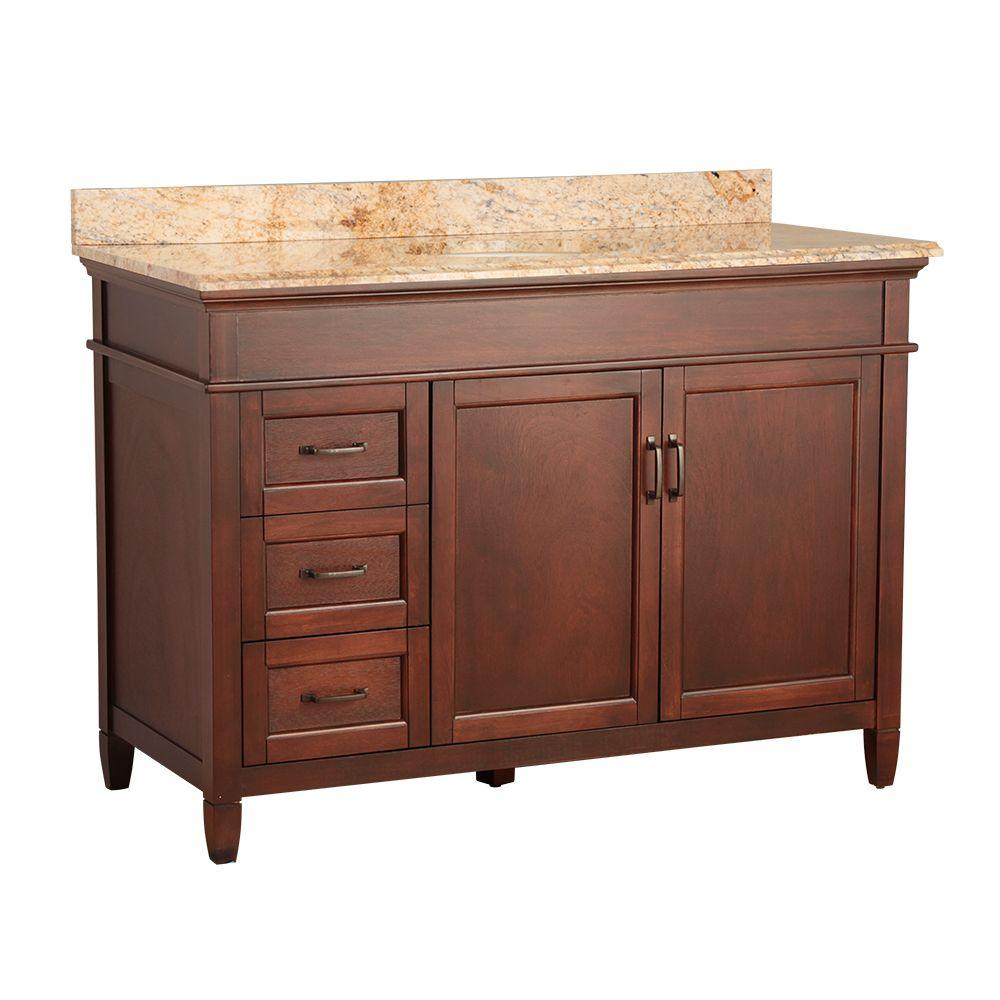 null Ashburn 49 in. W x 22 in. D Vanity in Mahogany with Vanity Top and Stone Effects in Tuscan Sun