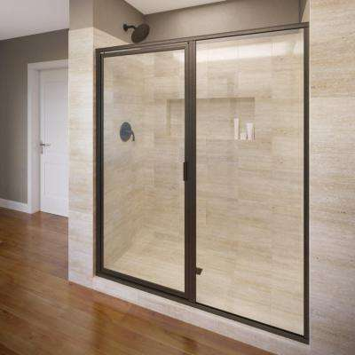 Deluxe 47 in. x 68-5/8 in. Framed Pivot Shower Door in Oil Rubbed Bronze with Clear Glass