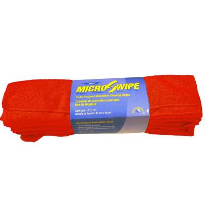 16 in. x 16 in. Red MicroSwipe and Microfiber Cleaning Cloths (10-Pack)