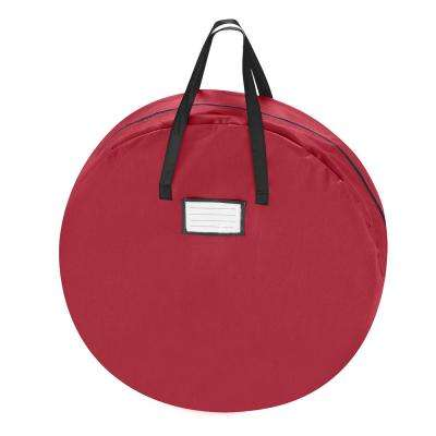 36 in. Red Canvas Supreme Christmas Wreath Storage Bag