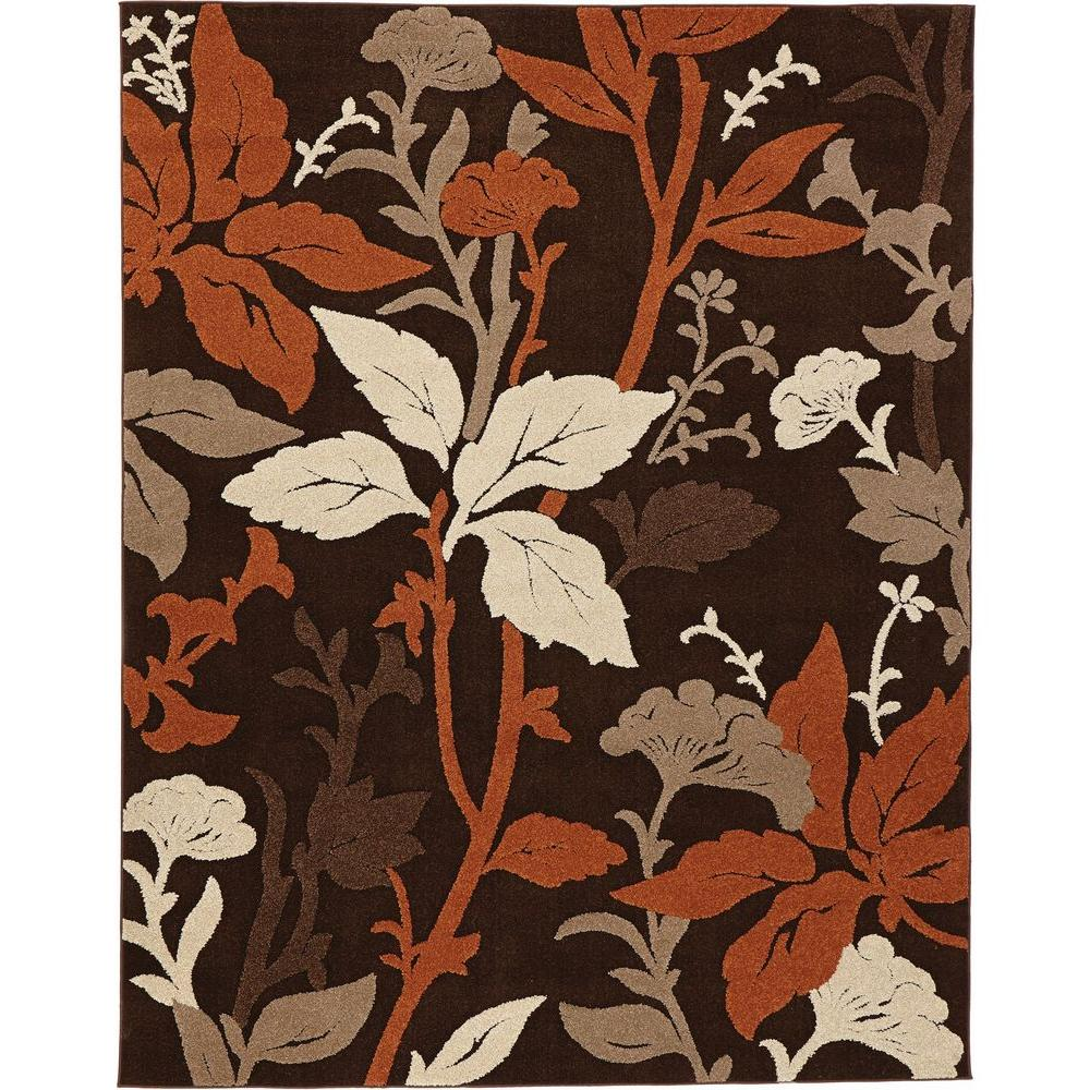 Home Decorators Collection Blooming Flowers Brown Rust 5 Ft X 7 Ft