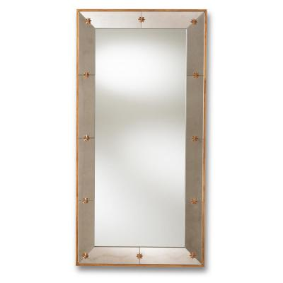 Large Rectangle Antique Gold Contemporary Mirror (54 in. H x 27 in. W)