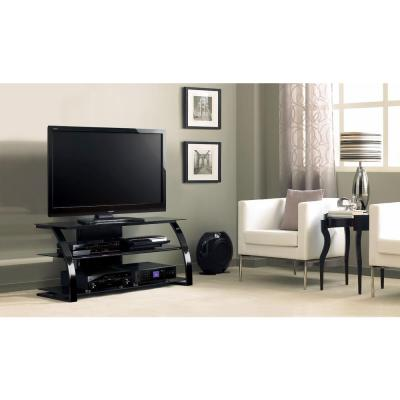 52 in. High Gloss Black Metal TV Stand Fits TVs Up to 55 in. with Cable Management