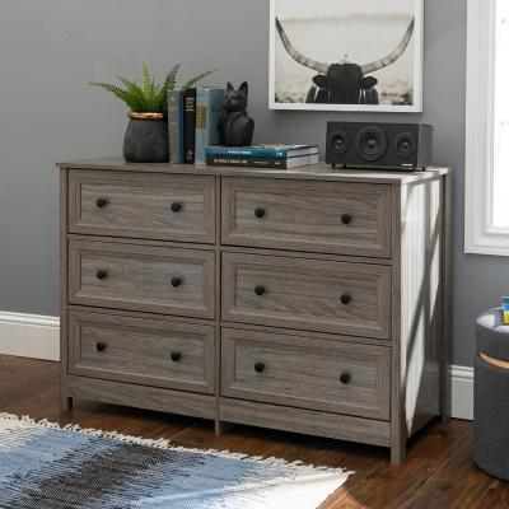 Classic 6-Drawer Slate Grey Groove Dresser