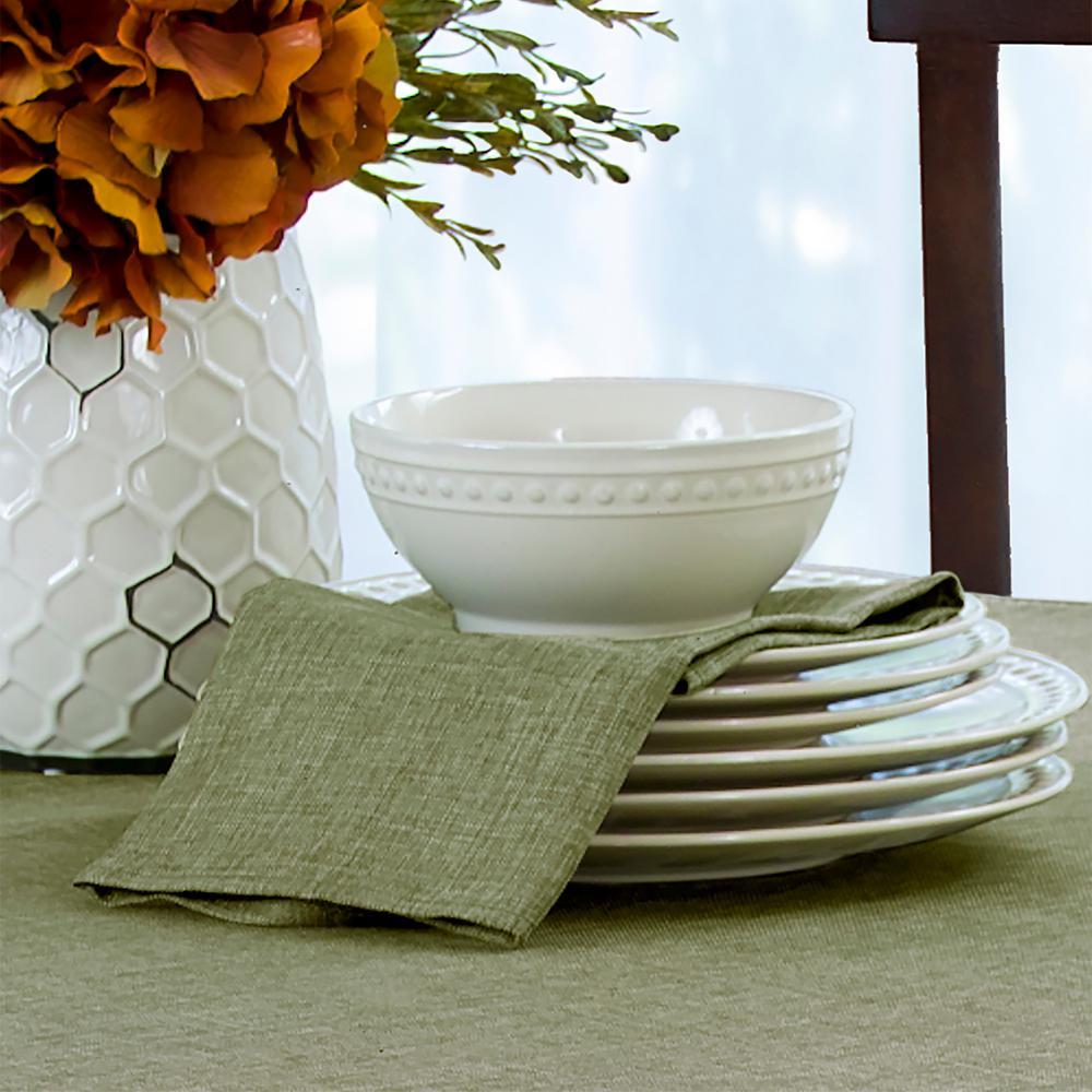 17 in. W x 17 in. L Elrene Pennington Damask Green Fabric Napkins (Set of 4)