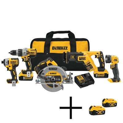 20-Volt MAX XR Lithium-Ion Cordless Combo Kit (5-Tool) with Batteries, Charger, Tool Bag and Free Battery Pack (2-Pack)