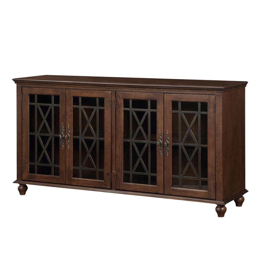 Os Home And Office Furniture Harper S Branch Walnut Brown Large Accent Cabinet With Framed Doors