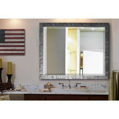 37.5 in. x 43.5 in. Jovie Jane Safari Silver Rounded Beveled Decorative Wall Mirror