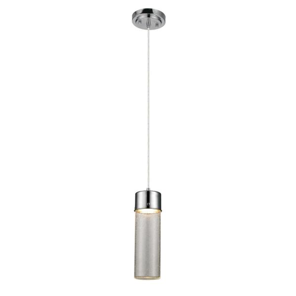 Integrated LED Polished Chrome Pendant with Seeded Glass