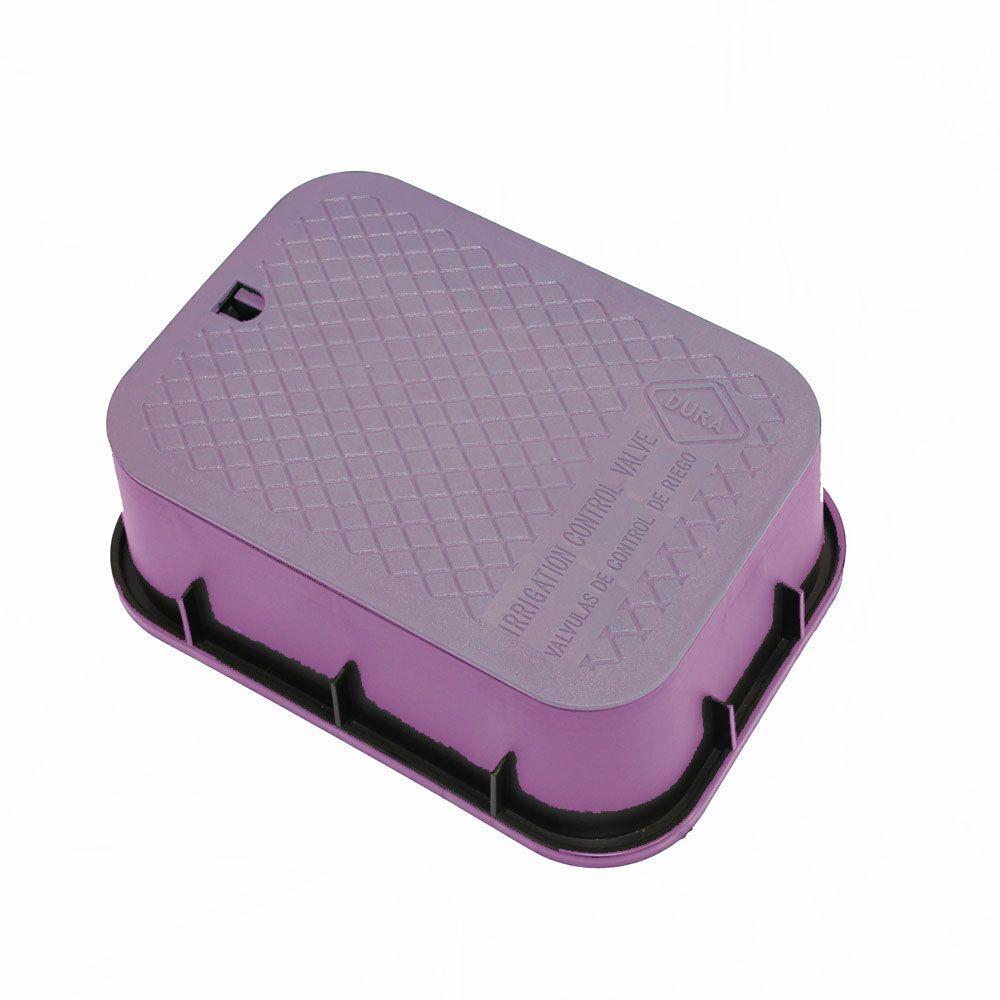 15 in. x 21 in. x 6 in. Deep Rectangular Valve Box in Purple Body Purple Lid