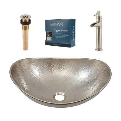 Hobbes 19 in. All-In-One Vessel Sink with Pfister Ashfield Vessel Faucet and Drain in Brushed Nickel