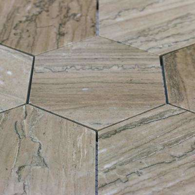 Jackson Taupe Hexagons 12-1/8 in.  x 10 3/8 in. Polished Mosaic Tile