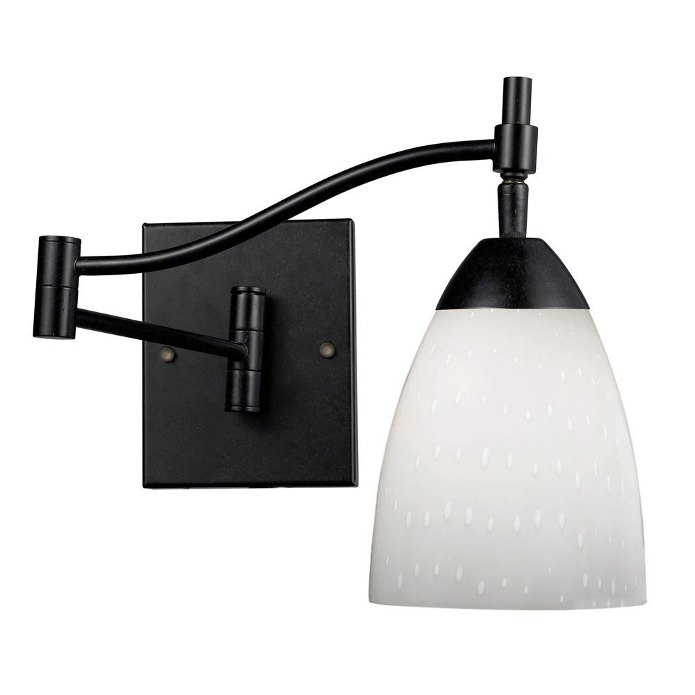 Celina 1-Light Dark Rust Wall-Mount Swingarm Sconce