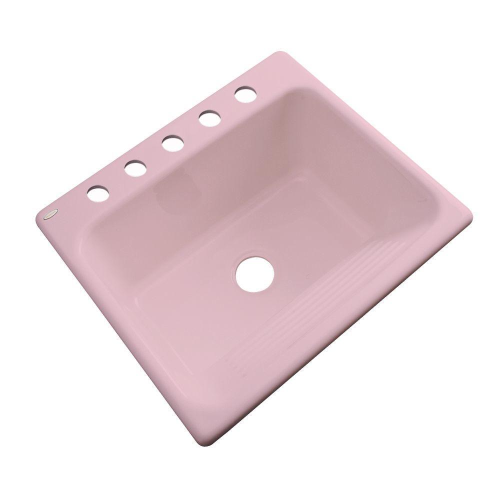 Thermocast Kensington Drop-In Acrylic 25 in. 5-Hole Single Bowl Utility Sink in Dusty Rose