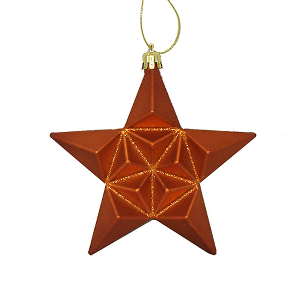 5 in. Matte Burnt Orange Glittered Star Shatterproof Christmas Ornaments
