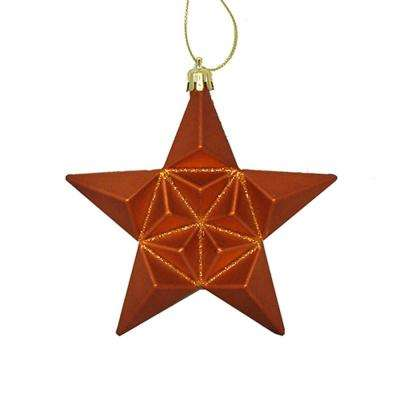 matte burnt orange glittered star shatterproof christmas ornaments 12 count