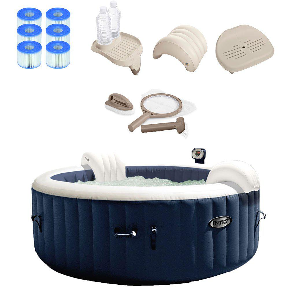 Intex Pure Spa 4 Person Inflatable Hot Tub Set With 6 Filter