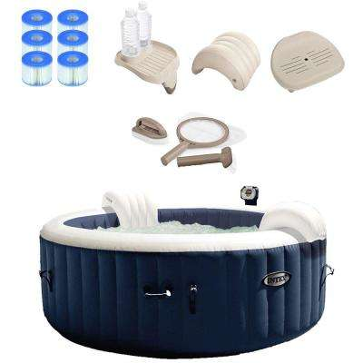 Pure Spa 4-Person Inflatable Hot Tub Set with 6-Filter Cartridges and Accessories