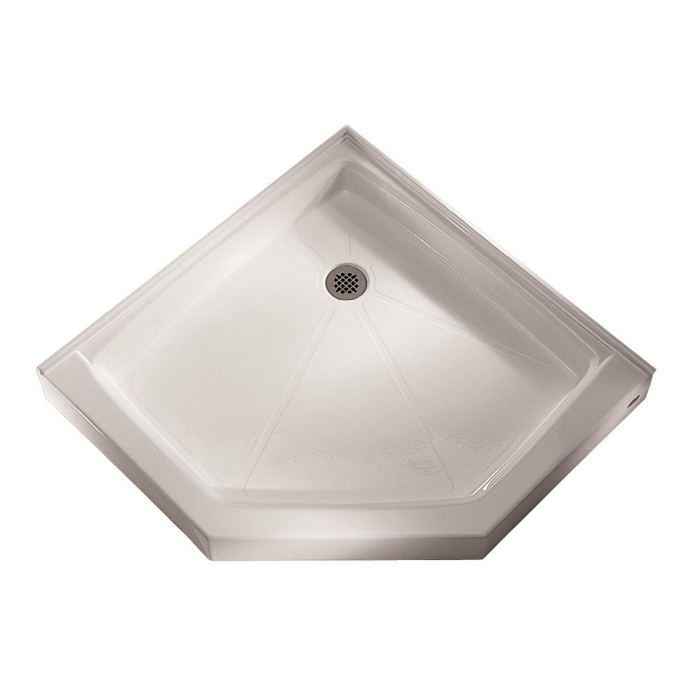 36-1/4 in. x 36-1/8 in. Triple Threshold Neo-Angle Shower Base in