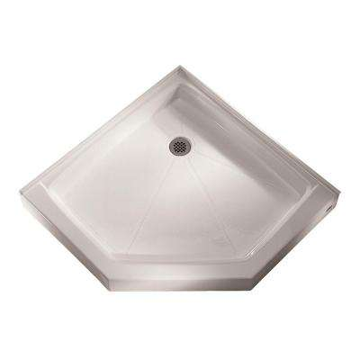 36-1/4 in. x 36-1/8 in. Triple Threshold Neo-Angle Shower Base in White