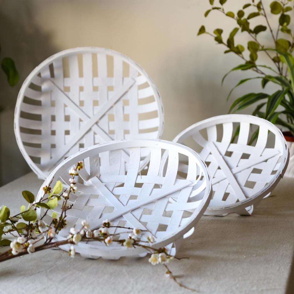 Round Wood Painted White Decorative Basket (Set of 3)