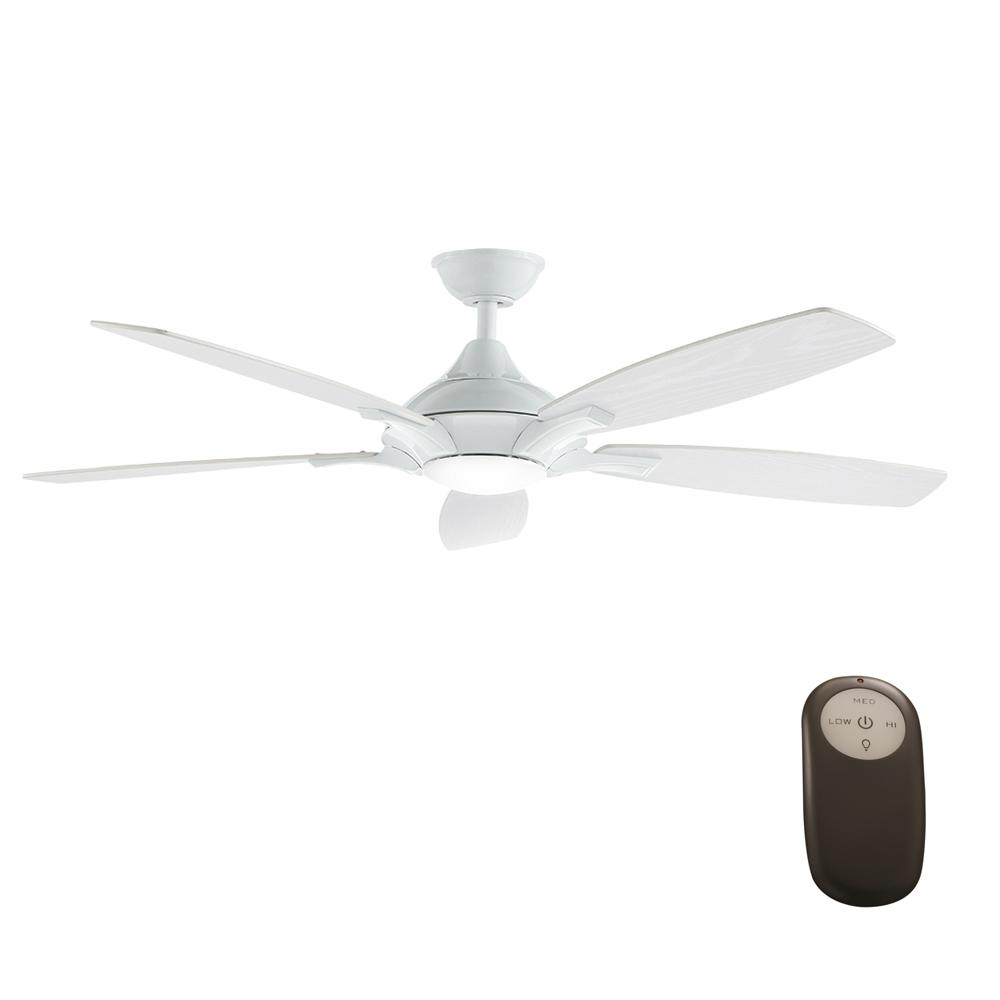 Home Decorators Collection Petersford 52 In Integrated Led Indoor White Ceiling Fan With Light