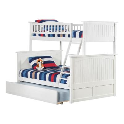 Nantucket Bunk Bed Twin over Full with Full Size Urban Trundle Bed in White