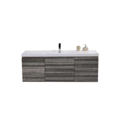 Bohemia 60 in. W Bath Vanity in High Gloss Ash Gray with Reinforced Acrylic Vanity Top in White with White Basin