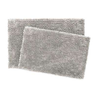 Mega Butter Chenille 17 in. x 24 in./20 in. x 32 in. 2-Piece Bath Mat Set in Light Grey