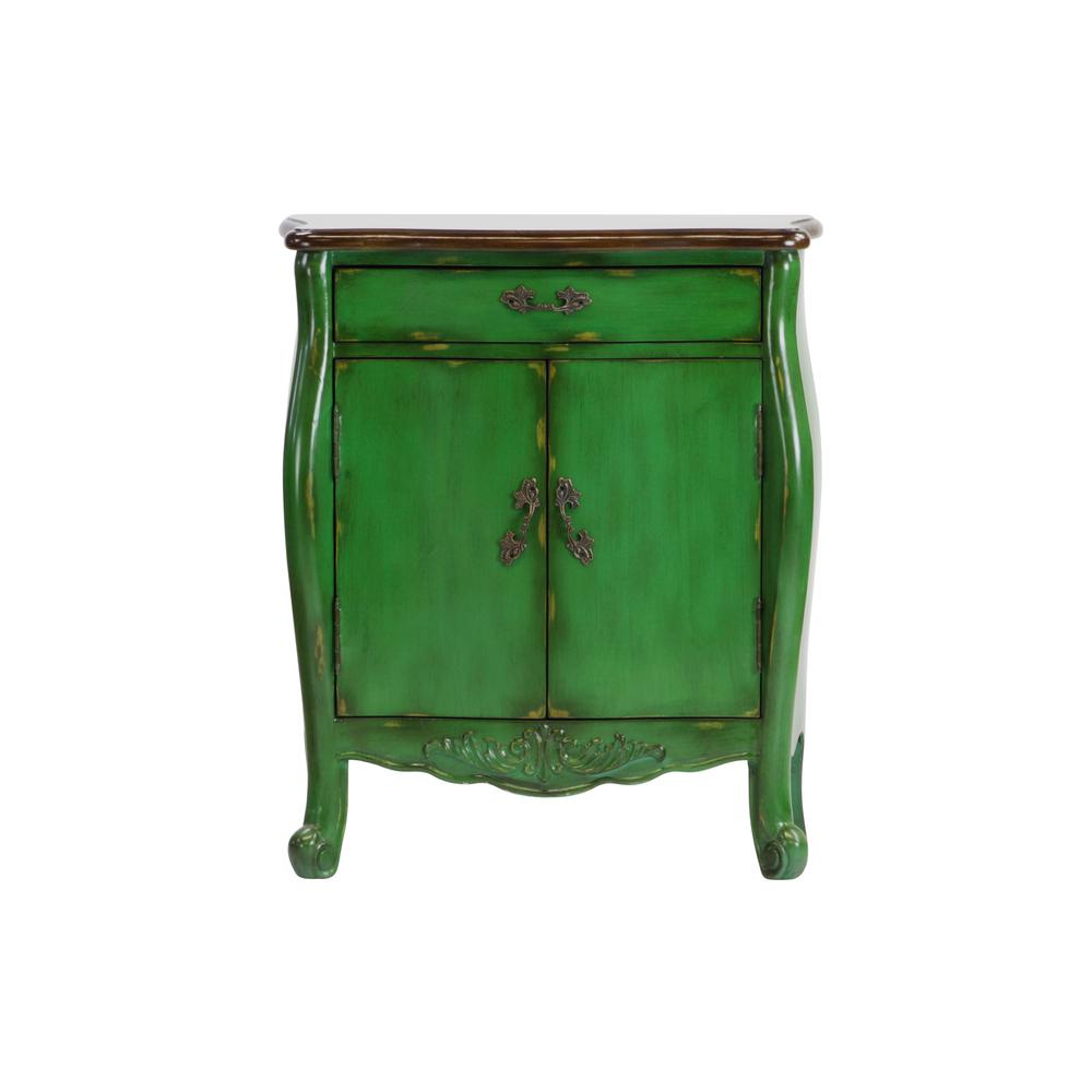 Hand Painted 1 Drawer Distressed Green Accent Chest