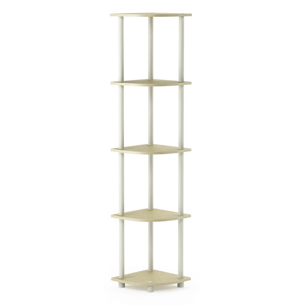 Turn-N-Tube Cream Marble/White 5-Shelf Corner Display Rack Multipurpose Shelving