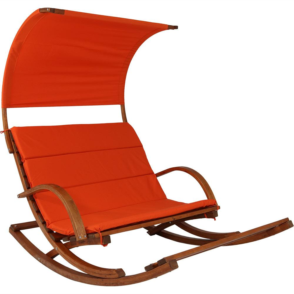 Sunnydaze Decor Wood Outdoor Rocking Loveseat With Burnt Orange Cushions Footrest And Canopy