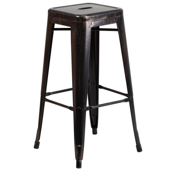 30 in. Black and Antique Gold Bar Stool