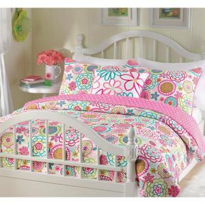 Flower Power Floral Bloom 4-Piece Multi-Color Pink Blue Green Orange Poly Cotton King Quilt Bedding Set and Throw Pillow