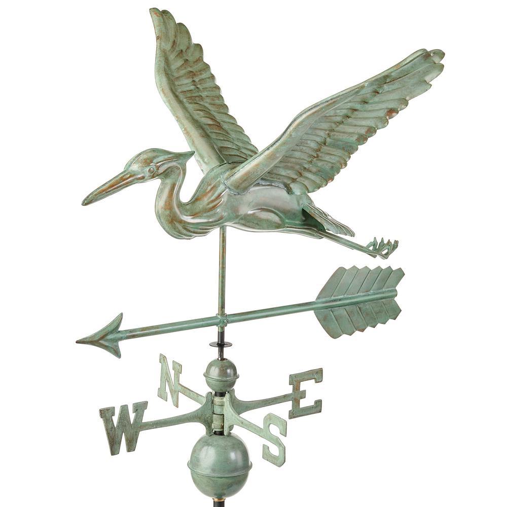 Blue Heron Weathervane with Arrow - Blue Verde Copper