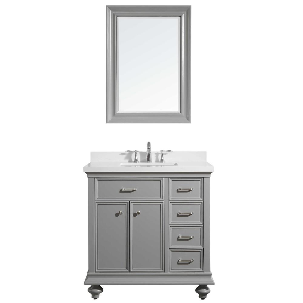 ROSWELL Charlotte 36 in. W x 22 in. D x 36 in. H Vanity in Grey with Quartz Vanity Top in White with White Basin and Mirror