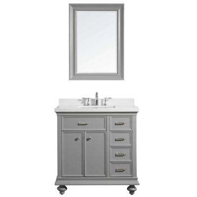 Charlotte 36 in. W x 22 in. D x 36 in. H Vanity in Grey with Quartz Vanity Top in White with White Basin and Mirror