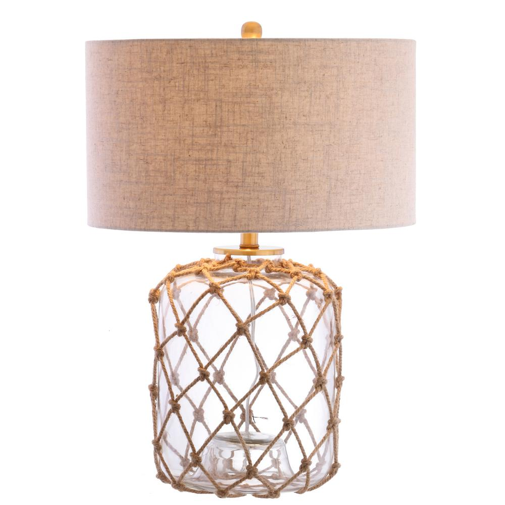 Brown/Clear Glass And Rope Table Lamp