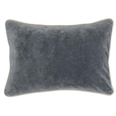 Heirloom Velvet 14 in. x 20 in. Rectangle Solid Stonewash Stone Gray Decorative Pillow
