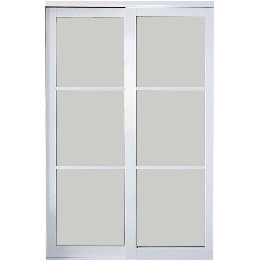Contractors Wardrobe 96 in. x 81 in. Eclipse 3 Lite White Aluminum Frame Mystique Glass Interior Sliding Door
