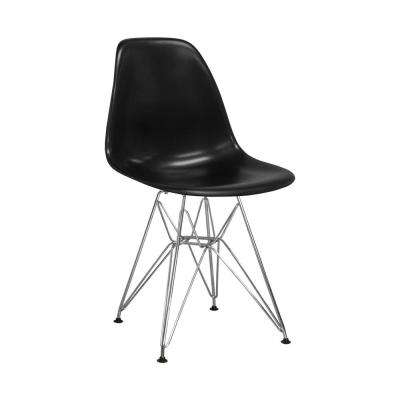Paris Tower Black Dining Side Chair with Chrome Legs (Set of 2)