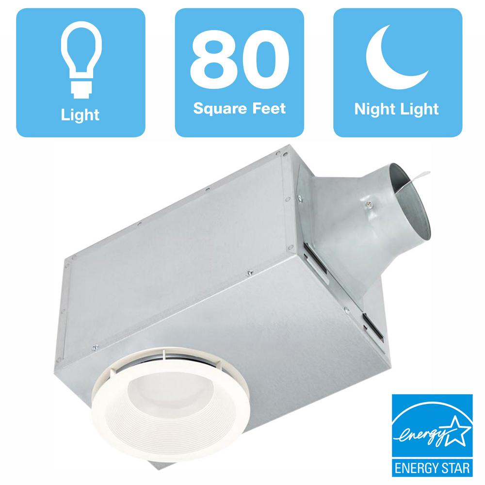 Delta Breez 80 Cfm Recessed Ceiling Bathroom Exhaust Fan With Led Light And Nightlight Energy Star Rec80led The Home Depot