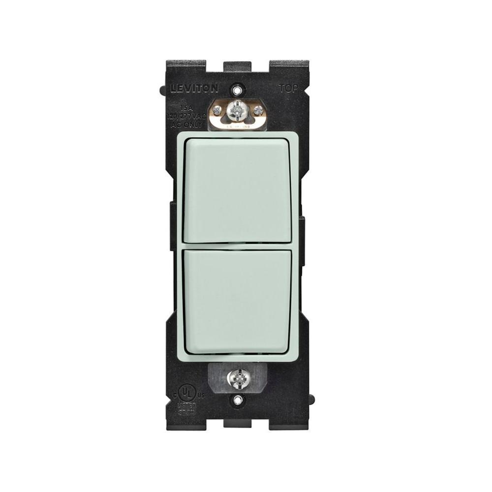 Leviton Renu 15 Amp Dual Combo Rocker Switch - Sea Spray-DISCONTINUED