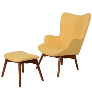 Katalina Muted Yellow Fabric Contour Chair with Ottoman
