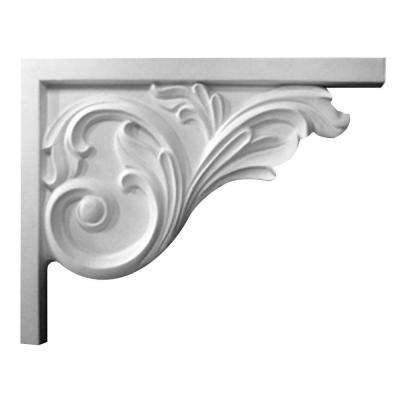 5/8 in. x 8-3/4 in. x 7-5/8 in. Polyurethane Right Bremen Acanthus Stair Bracket Moulding