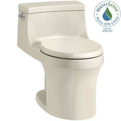 San Souci 1-piece 1.28 GPF Single Flush Round Toilet in Almond
