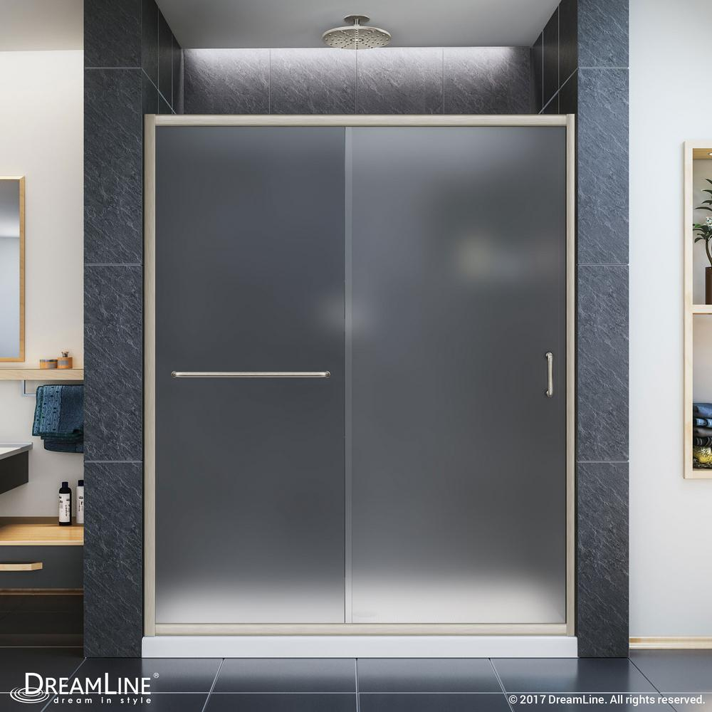 DreamLine Infinity-Z 36 in. x 60 in. x 74.75 in. Framed Sliding Shower Door in Brushed Nickel with Center Drain White Acrylic Base