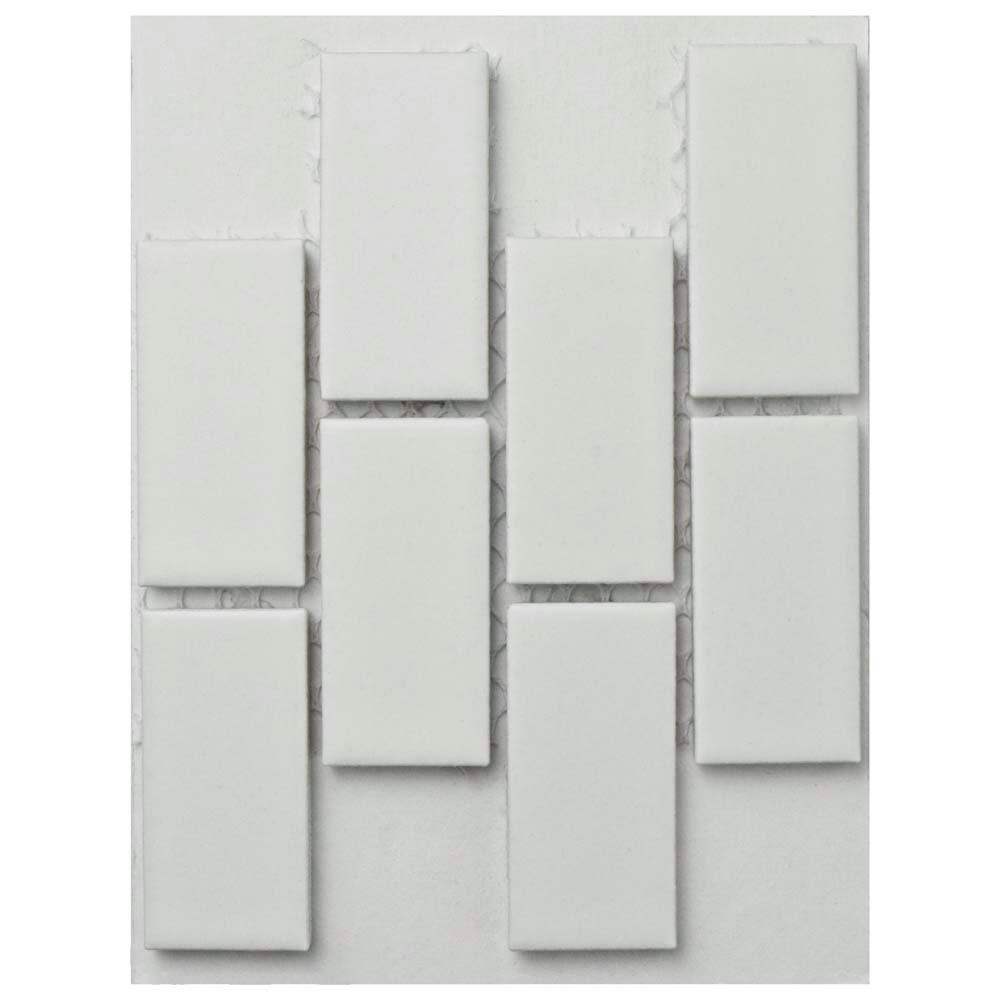 Merola Tile Metro Subway Matte White Porcelain Mosaic Tile 3 In X