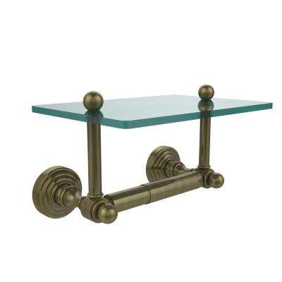 Waverly Place Collection Double Post Toilet Paper Holder With Glass Shelf  In Antique Brass